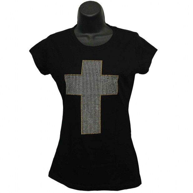 Cross Graphic Silver and Gold - Rhinestone Ladies T-Shirt