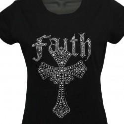 Faith Cross - Rhinestone and Crystal Ladies T-Shirt