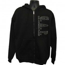 God Answers Prayer - Silver and Black Rhinestones Hoodie