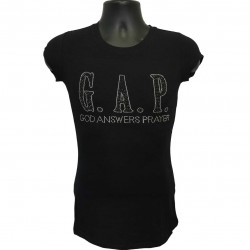 God Answers Prayer -  Black and Silver Rhinestone Ladies T-Shirt