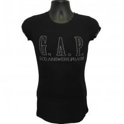 God Answers Prayer -  Black and Silver Rhinestone Ladies T-Shirt