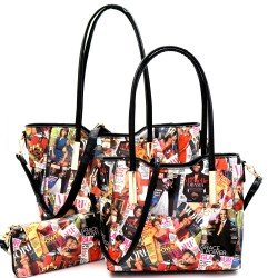 Obama Magazine Print 3 in 1 Twin Tote Wallet Set