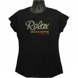 Relax God is in Control - Rhinestone Ladies T-Shirt