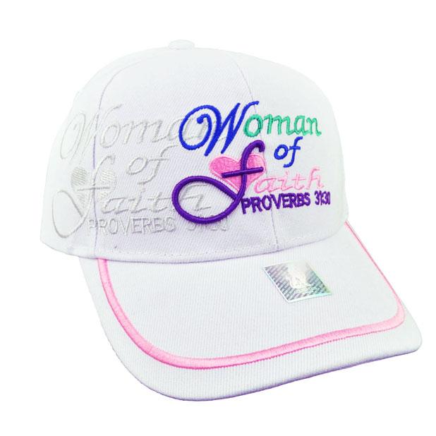 Woman of Faith Hat Proverbs 31:30 Christian Wear Baseball Cap White